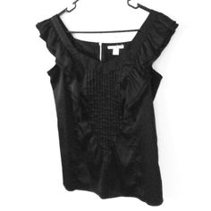 """Black satiny ruffled dressy tank top Very pretty details on this top, nice pleated center and surrounding ruffles that go over the arm and down the back also, black is just hard to see in photos, color is very black, photos taken in daylight to show details better, will fit up to 38"""" bust, length is 25"""" Dalia collection Tops Tank Tops"""