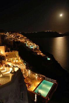Moon over Oia, Santorini, Greece, by Melissa Mitchell - viaMariusz Stankiewicz's photo on Google+