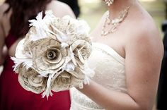 Book page wedding bouquet.  <3  Paper flowers are love; paper flowers made from book pages - double love.