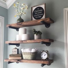 """I've been wanting to redecorate every square inch of my house this week. (Read: feel sorry for Grahm.) Think I'll start with these shelves in our bathroom and see what other shenanigans I can do before the husband gets home and talks some """"do we really need a new coffee table and rugs and throw pillows and curtains..."""" sense into me. #shelfie #DIY #bathroomdecor"""
