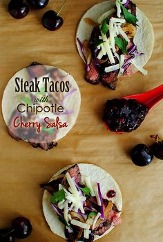 Steak Tacos with Cherry Chipotle Salsa