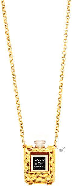 Vintage Chanel Gold Perfume Bottle Necklace