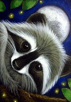 Raccoon, Full Moon & Fireflies - Cyra R Cancel Animal Paintings, Animal Drawings, Raccoon Art, Wow Art, 5d Diamond Painting, Whimsical Art, Pictures To Paint, Painting Inspiration, Painted Rocks