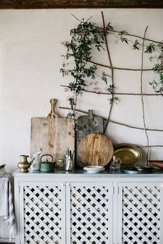 Love this simple rustic kitchen indoor vine trellis @istandarddesign