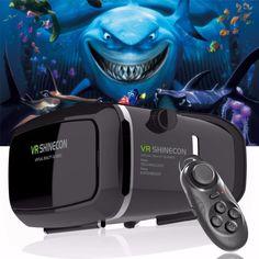 2017 Google Cardboard VR shinecon Pro Version VR Virtual Reality 3D Glasses +Smart Bluetooth Wireless Remote Control Gamepad