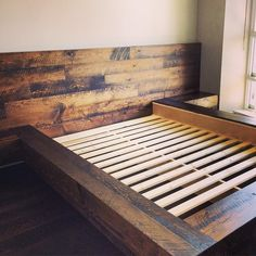 Wall-to-wall headboard from last week in reclaimed fir (stained) Rustic Platform Bed, Diy Platform Bed, Wooden Pallet Beds, Wooden Bed Frames, Timber Beds, Wood Beds, Box Bed Frame, Home Decor Bedroom, Diy Home Decor