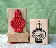 Chinese Lantern rubber stamp from oldislandstamps. $9.50, via Etsy.