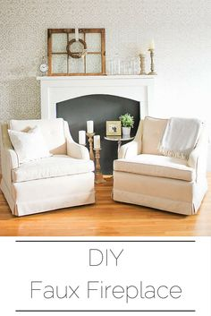 DIY Faux Fireplace Great way to add a Mantel to your front room. Full Tutorial by AKA Designs