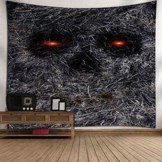 Wall Art Hay Skull Print Bedroom Tapestry - GRAY GRAY