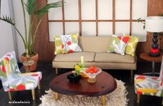 Dollhouse Miniature Mid Century Modern Contemporary Sofa and Chairs Set.