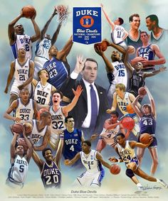 A work of art for lovers of the Duke University Basketball Program. Duke Basketball, Basketball Video Games, Basketball Schedule, Basketball Tricks, Basketball Season, College Basketball, Duke Bball, Ncaa College, College Fun