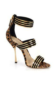 Alberto Moretti Fall 2014 black gold evening shoes