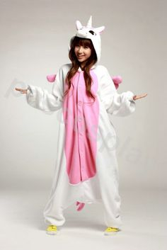 KIGURUMI Animal Costume Pajamas Pyjamas Onesie Adult / Kid SLOTH-pink unicorn. $69.99, via Etsy.