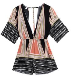 Model Number: geometric women jumpsuits Material: Polyester Style: Casual Type: Playsuits Decoration: None Fabric Type: Chiffon Fit Type: Loose Pattern Type: Geometric Item Type: Jumpsuits & Rompers G