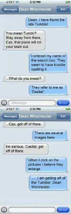 destiel texts makes me giggle