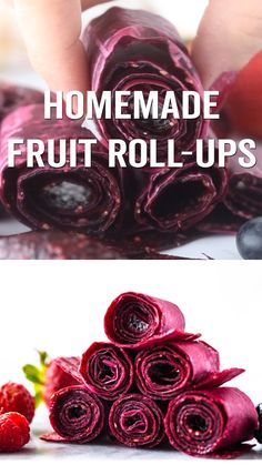 HOMEMADE FRUIT ROLL-UPS ? - such a fun and easy recipe to make your own fruit leather! These homemade fruit roll-ups are so easy to make! With only 3 ingredients your kids will love these fruit roll-ups! Dessert Aux Fruits, Dehydrator Recipes, Food Processor Recipes, Easy Snacks, Veggie Snacks, Easy Meals, Fruit Snacks Homemade, Homemade Toddler Snacks, Fruit Roll Ups Homemade