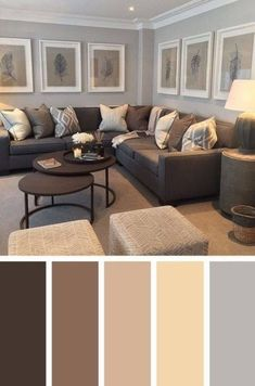 25 Gorgeous Living Room Color Schemes to Make Your Room Cozy The best color combinations for your living room is one that fits the atmosphere you want to create. Find a fresh look with these living room color schemes. Grey And Brown Living Room, Beige Living Rooms, Living Room Paint, Living Room Carpet, New Living Room, Cozy Living, Living Room Ideas With Brown Carpet, Monochromatic Living Room, Monochromatic Color Scheme