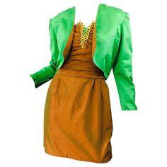 f9b39f45647 1990s Orange + Green + Gold Silk Shantung Vintage 90s Strapless Dress +  Bolero For Sale