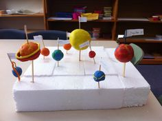 Plasticine solar system model - stick the planets into foam with matchsticks or popsticks. Get children to think about the order of planets from the sun and relative size. Solar System Model Project, Solar System Projects For Kids, Solar System Crafts, Science Projects, School Projects, Planet Project, English Projects, Reggio, Space Activities