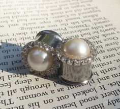 Pearl Plugs Rhinestone and pearl classic gauges by PluggingAlong, $40.00