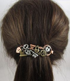 Steampunk Locks and Keys French Barrette 80mm- Hair Accessories- Hair Clips- Steampunk- Lock and Key Jewelry by PINSwithPERSONALITY on Etsy https://www.etsy.com/listing/118626639/steampunk-locks-and-keys-french-barrette