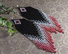 Fanastic long perlé boucles d'oreilles, boucles d'oreilles pompon, rocaille perle des boucles d'oreille, boucles d'oreilles, noir et rose, gris et noir