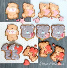 Bear Cookies, No Bake Cookies, Biscuits, Valentines Day Cookies, Dream Cake, Cookie Designs, Cookie Decorating, Gingerbread Cookies, Food Art
