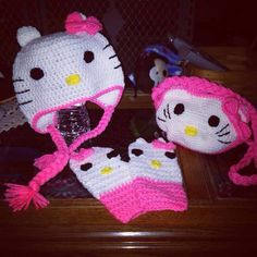"""""""Hello Kitty"""" hat, mittens and purse crocheted by Erin!"""