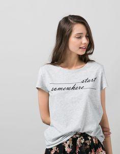 BSK text print T-shirt - Printed - Bershka United Kingdom