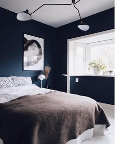 my scandinavian home: An Inspiring Dutch Home With Colourful Accents Blue Bedroom Paint, Best Bedroom Paint Colors, White Bedroom Furniture, Bedroom Color Schemes, Bedroom Decor, Dark Furniture, Colour Schemes, Dark Blue Bedrooms, Home Ceiling