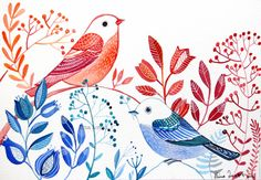 Red and Blue  / Bird Art / Moder Art /Wall Art / Room Decor / Original painting / Watercolor/ Floral on Etsy, $49.99