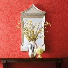 WILLIAMSBURG Pembroke by Wallcoverings styled with Fincastle mirror and Beaufort flame bottle by Views Damask Wallpaper, Home Wallpaper, Wallpaper Ideas, Painting Textured Walls, 21st Century Homes, English Interior, Asian Paints, Art And Craft Design, Paint Designs