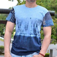 Shibori dyed handcrafted t-shirt. Japanese inspired tee.