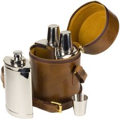 For your essential comfort and perfect for on the go is this leather travel liquor bar set in the finest hand dressed fine-grain waxy leather case.  http://www.annabelchaffer.com/products/Leather-Travel--Flask-Set.html#