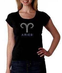 Aries RHINESTONE t-shirt tank top S M L XL 2XL Zodiac
