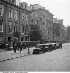 May 1945. Jeeps of the BS in front of the Ortskommantur in the Johannes Vermeerstraat in Amsterdam. Photo Nederlands Fotomuseum / Charles Breijer #amsterdam #worldwar2