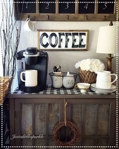 Coffee Bar Ideas - Looking for some coffee bar ideas? Here you'll find home coffee bar, DIY coffee bar, and kitchen coffee station. Coffee Nook, Coffee Bar Home, Coffee Corner, Coffee Bars, Coffe Bar In Kitchen, Coffee Time, Kitchen Corner, Morning Coffee, Coffee Bar Station