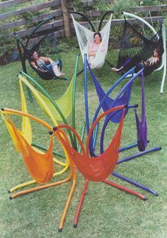 Hammock chairs. How fun. Wouldn't these be great to sit by a campfire in?