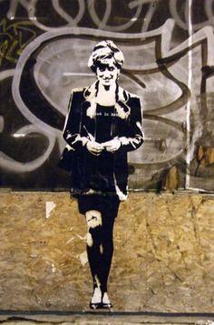 Lady Diana -by Blek le Rat ((not banksy)) Amazing Street Art, 3d Street Art, Street Art Graffiti, Street Artists, Wall Street, Stencil Graffiti, Stencil Art, Graffiti Artwork, Graffiti Artists