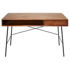 A CONTEMPORARY FEELAs well oozing studious and retro appeal, this ARTY mango wood and black metal desk will go perfectly in a contemporary setting. Sideboard Furniture, Wood Sideboard, Wood Desk, Wood Furniture, Wood And Metal Desk, Studio Furniture, Office Furniture, Black Metal, Black Wood