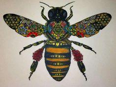A honey bee from Solwind Art. Queen Bee Tattoo, I Love Bees, Bee Art, Insect Art, Bee Design, Bee Happy, Save The Bees, Bees Knees, Queen Bees