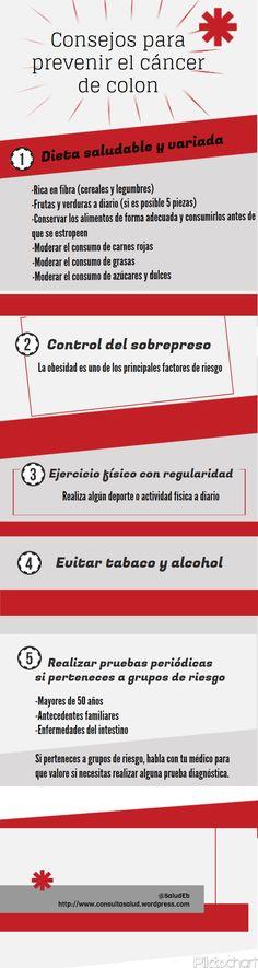Consejos para prevenir el cáncer de colon #infografia #infographic #health