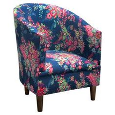 """Floral-print side chair with foam padding and a pine wood frame. Handmade in the USA.   Product: ChairConstruction Material: Solid pine wood, fabric, polyurethane and polyester fill foamColor:  NavyFeatures: Floral motifHandmade in the USADimensions: 32"""" H x 25"""" W x 27"""" DAssembly: Assembly requiredCleaning and Care: Spot clean only"""