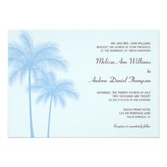 Blue Palm Tree Tropical Wedding Invitations