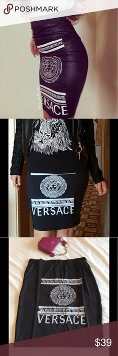 Make an offer 🎉Versace Black pencil skirt Brand new. Soft and stretchable. Custom made No brand. 1st pic is not real picture of the skirt. Versace Skirts Pencil