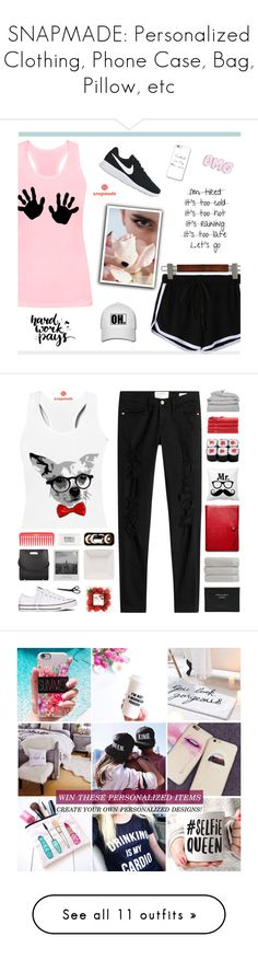 """""""SNAPMADE: Personalized Clothing, Phone Case, Bag, Pillow, etc"""" by paradiselemonade ❤ liked on Polyvore featuring NIKE, Frame, Converse, Alexander Wang, Meggie, Stila, Acne Studios, Christy, Coach and Brooks Brothers"""