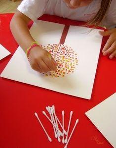 РИСОВАНИЕ ВАТНЫМИ ПАЛОЧКАМИ В изобразительном искусстве существует стилистическое направление в живописи, которое называется «Пуантилизм» (от фр. point - точка). В его основе лежит манера письма раздельными мазками точечной или прямоугольной формы. Принцип данной техники прост: ребенок закрашивает картинку точками. Для этого необходимо обмакнуть ватную палочку в краску и нанести точки на рисунок, контур которого уже нарисован. Материалы: 1.Ватные палочки 2.Краска 3.Бумага 4.Баночка для воды