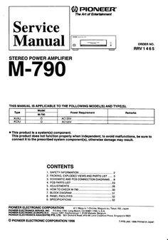 pioneer m 73 power amplifier original service manual hi fi rh pinterest com Pioneer M22 User 1C V8 2