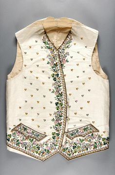 Waistcoat, England, 1785-1795. Ivory silk faille with multicoloured naturalistic floral silk embroidery.