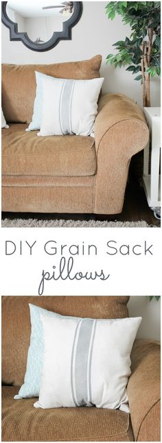 DIY Grain Sack Pillows, easy to make using fabric spray paint!